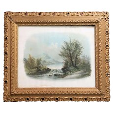 c.1890 Frame Wood Gesso William Chandler Print Lithograph Pastel 27x22