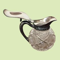 c. 1890 Victorian Syrup Cut Glass Creamer MUST SEE THIS PATTERN Silverplate