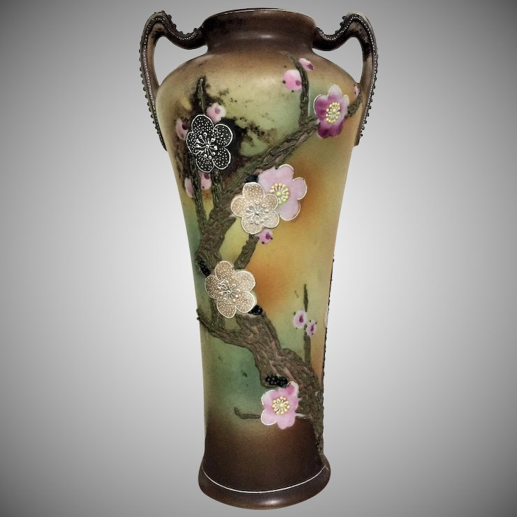 Pre 1891 Moriage Vase Urn Floral Exceptional Glass Lovers Gallery