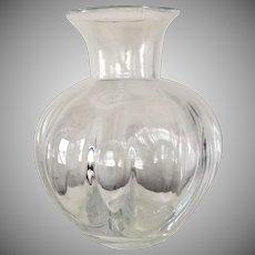 GORGEOUS Simon Pearce Vase Rare Optic Pattern 8 1/2 x 6 1/2 Hand Blown