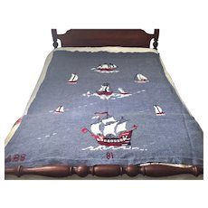 HANDMADE  37 yrs old WOOL Afghan Bedspread Throw Coverlet SIGNED Nautical Coastal Sailboat Beach