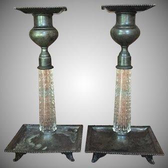 Eureka Silver Co. - Meriden Glass Co. Candlesticks Cut Glass Silver Plate c.1900