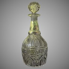 VERY RARE Blown Decanter 3 Mold Arch and Fern with Snake Medallion GIV-7 Boston Sandwich Glass  c1825-35