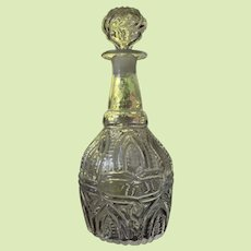 VERY RARE  c1825-35 Boston Sandwich Glass  Blown Decanter 3 Mold Arch and Fern with Snake Medallion GIV-7