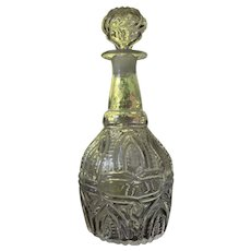 RARE Blown Decanter 3 Mold Arch and Fern with Snake Medallion GIV-7 Sandwich Glass Co c1825-35