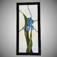 """45+ yrs old Stained Glass Window Panel 22"""" x 10"""" c.1970's"""