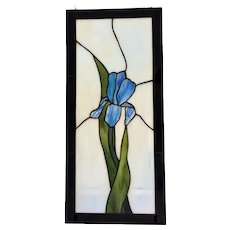 "45+ yrs old Stained Glass Window Panel 22"" x 10"" c.1970's"