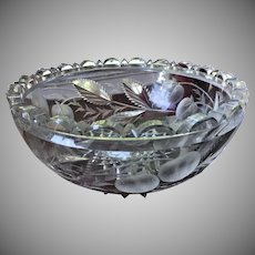 GRAVIC Hawkes Cut Glass Bowl Strawberry c.1906  SIGNED