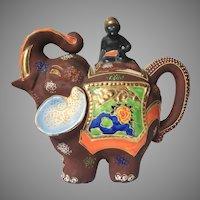 c.1921-1946 Japanese Moriage Gilded Satsuma Hand Painted Elephant w/ Mahout Teapot Tea Kettle