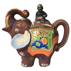 c.1921-1946 Japanese Moriage Gilded Satsuma Hand Painted Elephant Teapot Tea Kettle