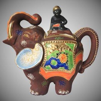 c.1921-1946 Japanese Moriage Gilded Satsuma Hand Painted Elephant Teapot Tea Kettle