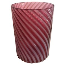 SCARCE c.1885 Victorian Hobbs and Brockunier Cranberry Opalescent Swirl Tumbler Cup