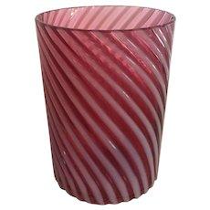 SCARCE c.1885 Victorian Hobbs and Brockunier Cranberry Opalescent Swirl Tumbler Cup