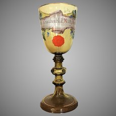 "c.1890 10 3/4"" Bohemian German Presentation Pokal Goblet Chalice Enameled Hand Painted"