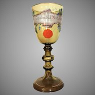 "c.1890 10 3/4"" Bohemian German Presentation Pokal Goblet Chalice Enameled Hand Painted"