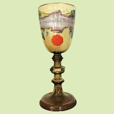 "c.1890 10 3/4"" Bohemian German Presentation Pokal Goblet Chalice Beer Trophy Cup -- Enameled -- Hand Painted"