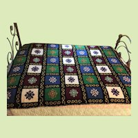 4 lbs 60yrs Old Wool Handmade Afghan Crocheted Needlepoint Bedspread Blanket Throw (TWO AVAILABLE)