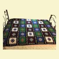 GORGEOUS Handmade 4 lbs 60 yrs old Wool Afghan Crocheted Needlepoint Bedspread Blanket Throw (TWO AVAILABLE)