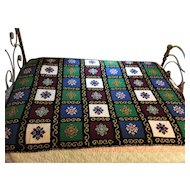 4 lbs 50yrs Wool Handmade Afghan Crocheted Needlepoint Bedspread Throw (TWO AVAILABLE)