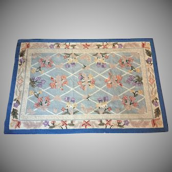 """5'10"""" x 3'11"""" Wool Rug Hooked HAND MADE 1940-50's"""