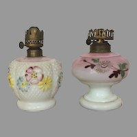 c.1890-1900 Consolidated Glass Co. + Dithridge and Co Miniature Oil Lamp / Miniature Kerosene Lamp VICTORIAN