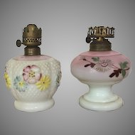 TWO c.1890-1900 Consolidated Glass & Dithridge and Co Miniature Oil Lamp / Miniature Kerosene Lamp VICTORIAN