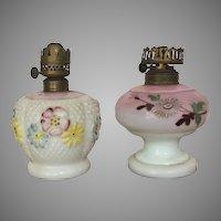 TWO c.1890-1900 Consolidated Glass & Dithridge and Co Miniature Oil Lamp / Miniature Kerosene Lamp VICTORIAN