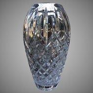 "c.1988 Waterford Vase Large 9"" Heritage Line Araglin  Crystal Cut Glass Signed NEW CONDITION"