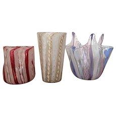 RARE TUMBLER Murano Italy Ribbon Glass Venetian Latticino Handkerchief Vase 1930-50 Three pieces