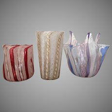 RARE TUMBLER Murano Italy Ribbon Glass Venetian Latticino Handkerchief Vase 1930-50 Three pieces