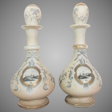 Victorian Porcelain Gilt Enameled Scent Cologne Bottle c.1890's England PAIR