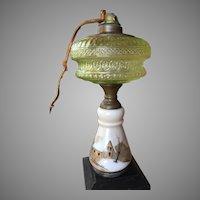 Mount Washington Vaseline Glass Kerosene Lamp 1870's Oil Lamp SMITH COMPANY