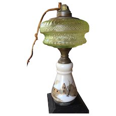 Mount Washington Vaseline Glass Kerosene Lamp 1870's Oil Lamp SMITH COMPANY