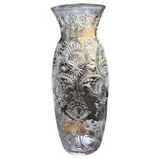 "14"" Stevens & Williams Vase Engraved c.1880-90 Frederick Carder England"