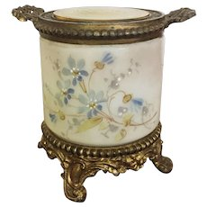 French Wave Crest Dresser Set Jar / Vanity Set Jar / Cigar Holder / Tobacco Hand Painted Gilt Bronze 1800's