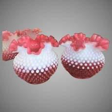 PAIR  Antique Cranberry Hobnail Lamp Shade Opalescent Ruffled
