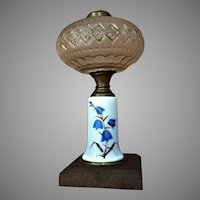 Beautiful Victorian Bluebell Flower Kerosene Lamp - Oil Lamp Hand Painted Late 1800's