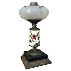 Beautiful Victorian Barn Swallow Bird Kerosene Lamp - Oil Lamp Hand Painted Late 1800's