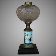 Boston Sandwich Glass Heron Crane Stork Kerosene Lamp Oil Lamp RARE GLOBE Hand Painted Late 1800's