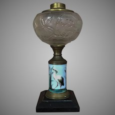 Boston Sandwich Glass Heron Crane Stork Kerosene Lamp Oil Lamp RARE GLOBE Hand Painted Late 1800's