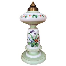 GORGEOUS Lamp Hand Painted Opaline Kerosene Lamp / Oil Lamp 1870-1887  HOLLOW BASE Enameled