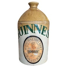 VERY RARE Thomas Smith & Co Stoneware Crock Jug Flagon GUINNESS 1870-90 England Lambert Doulton Paper Label Victorian