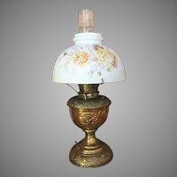 1890's B&H Bradley and  Hubbard Brass Kerosene Oil Table Lamp Electrified Macbeth Pearl Glass Chimney ALL ORIGINAL