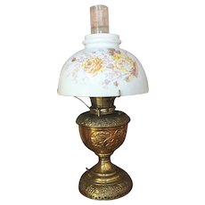 1890's B&H Bradley and  Hubbard Brass Kerosene Oil Table Lamp Electrified Macbeth Pearl Glass Chimney ALL ORIGINAL