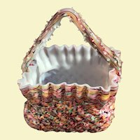 "c.1870-90 Victorian Cased Spatter Art Glass  - End of the Day Basket 6"" tall England THORN HANDLE"