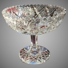 GORGEOUS Must See Victorian Cut Glass Compote Comport Crystal American Brilliant c.1890's