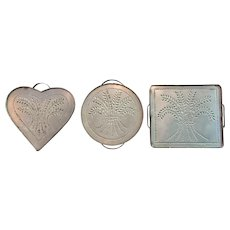 Vintage SET-3 Punched Tin  Trivet  Wall Hanging  Wheat Pattern