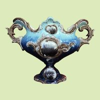 """c.1880-1900 12""""x8""""x5"""" European Majolica Urn / Vase Continental MARKED BY MAKER"""