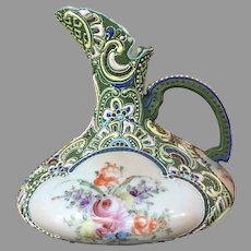 Pre-1891 Moriage Ewer Pitcher - Squat Pitcher   Hand Painted Nippon
