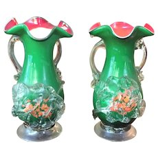 PAIR Stevens and Williams Applied Spatter Vase c.1880-1920 Art Glass